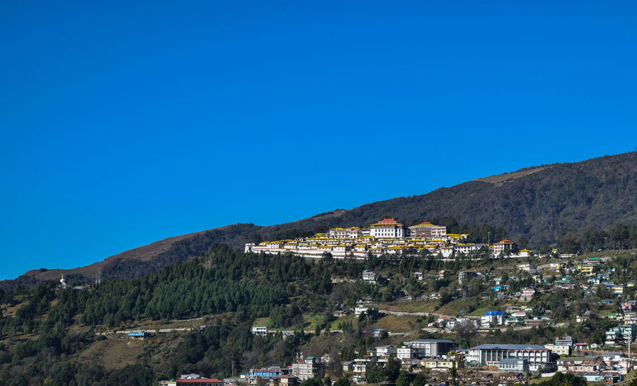 tawang monastery on a clear day Nature Sky Landscape Blue Blue Sky Day Outdoors Mountain Himalayas Sky And Clouds Clear Sky No People Tawang Monastery, Buddhism