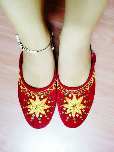 Redshoes Redness Slippers Slipperselfie Culture Weddingshoes Traditional Costume Nepalese Anklet Weddingaccessory Velvet Velvetshoes