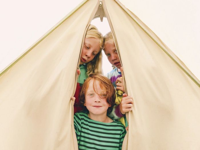 Camping kids Bell Tent Camping Childhood Togetherness Happiness Love Day Outdoors Beach Sand Dune Go Higher