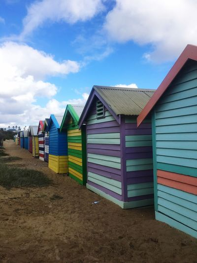 Beach Sand Sky Built Structure Cloud - Sky Multi Colored Outdoors Day Architecture No People Nature Building Exterior Beachbox Melbourne Wintersday