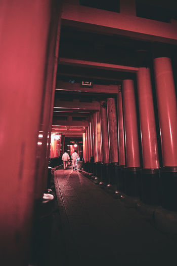 Rear view of man in corridor of building
