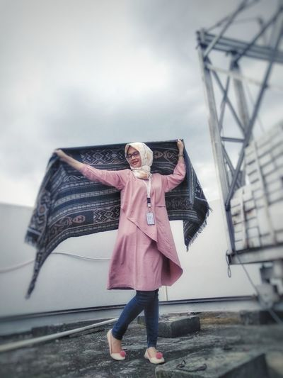 good looking Tenun Ikat Indonesia EyeEm Selects Fashion Stories One Person Full Length One Woman Only People Adults Only Only Women Adult Fashion Portrait Pink Color Happiness Casual Clothing Cloud - Sky Outdoors
