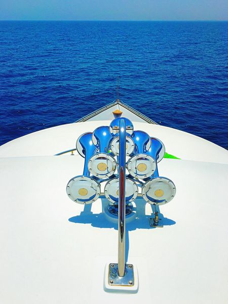 Luxury Yacht Blue Sea Horizon Over Water Nautical Vessel Water Tranquility No People Tranquil Scene Seascape Scenics Beauty In Nature Luxurylifestyle  Visit Oman