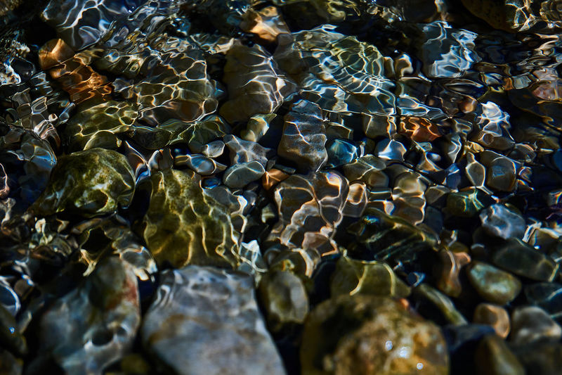 Full frame shot of stones in sea