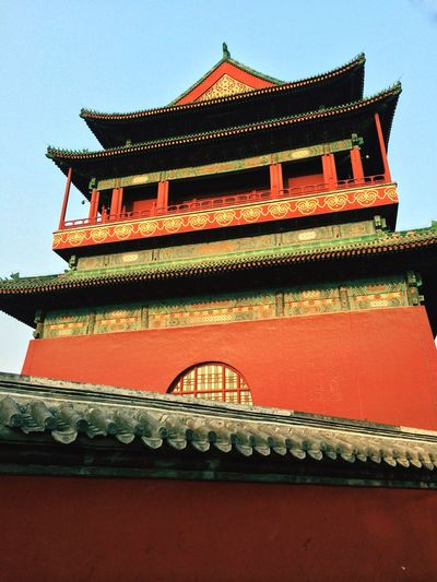 Almost every City in China has its own Drum Tower , but many had been torn down, only a name left. Beijing Cityscapes Gulou Historical Sights Ancient Architecture Red Wall Blue Sky BEIJING北京CHINA中国BEAUTY