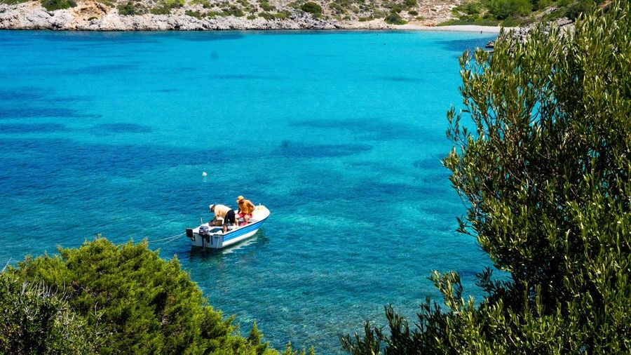 Greece Island Fishing Water Nautical Vessel Transportation High Angle View Mode Of Transportation Day Real People Men Two People Leisure Activity Lifestyles Blue Sea