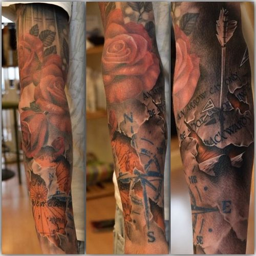 """New in! """"An arrow can only be shot by pulling it backwards"""" The Pic to the right 😍 and soon My sleeve Will be Done! Tattoo Tattoos Tattooed Tattoos And Piercings Sleeve  Rose🌹 Roses Ink Inked Art That's Me Today's Hot Look Sweden Love It Lovely Beautiful Beauty ArtWork Check This Out Enjoying Life Work In Progress Sleevetattoo"""