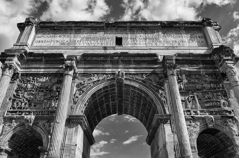 Low angle view of arch of septimius severus