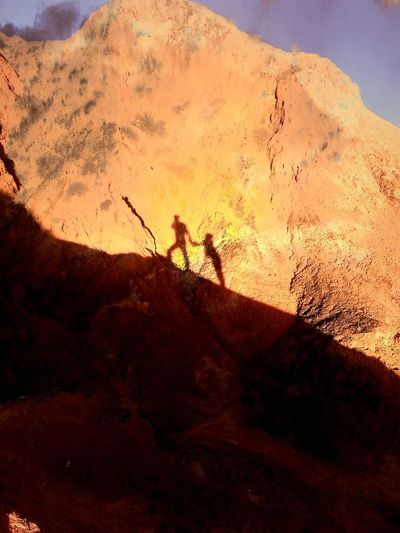 Couple Shadow Sunset Sunshine Desert Danxia Landform Zhangye  China Yellow 43 Golden Moments On The Way Fine Art Photography Golden Hour Golden Funtimes