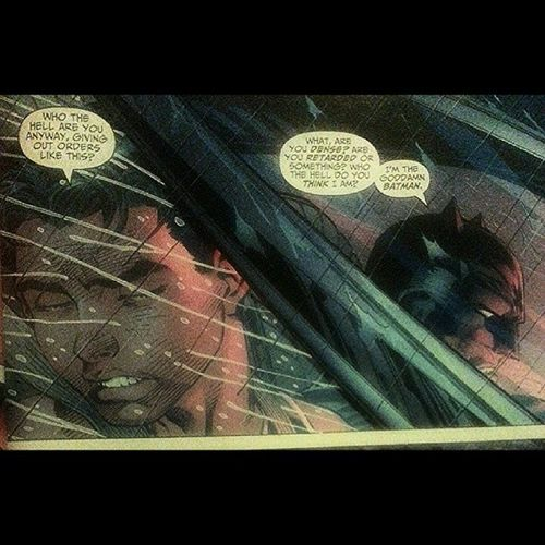 One of my favourite panels from Batman graphic novels. From All Star Batman & Robin by Jim Lee, Frank Miller and Scott Williams....... I'M THE GODDAMN BATMAN!! Batman Batmanfamily FamilyOfBats Geek GeekandProud Gamer Brucewayne Arkham ArkhamCity Arkhamorigins Arkhamasylum Gotham Gothamcity Robin DickGrayson AllStarBatmanAndRobin