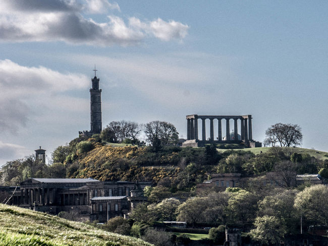 Architecture Building Exterior Built Structure Carlton Hill Cloud - Sky Edinburgh History Outdoors Schottland Scotland Sky Tree