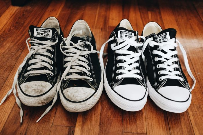 Chuck Taylor Converse Canvas Shoe Choice Chuck Taylors Chucks Close-up Converse All Star Converse⭐ Day Dirty Shoes Hardwood Floor High Angle View Indoors  No People Pair Shoe Shoelace Shoes Still Life Table Things That Go Together Wood - Material