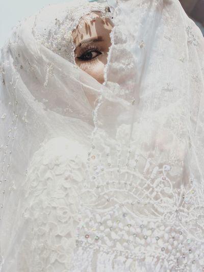 Portrait of bride during wedding ceremony