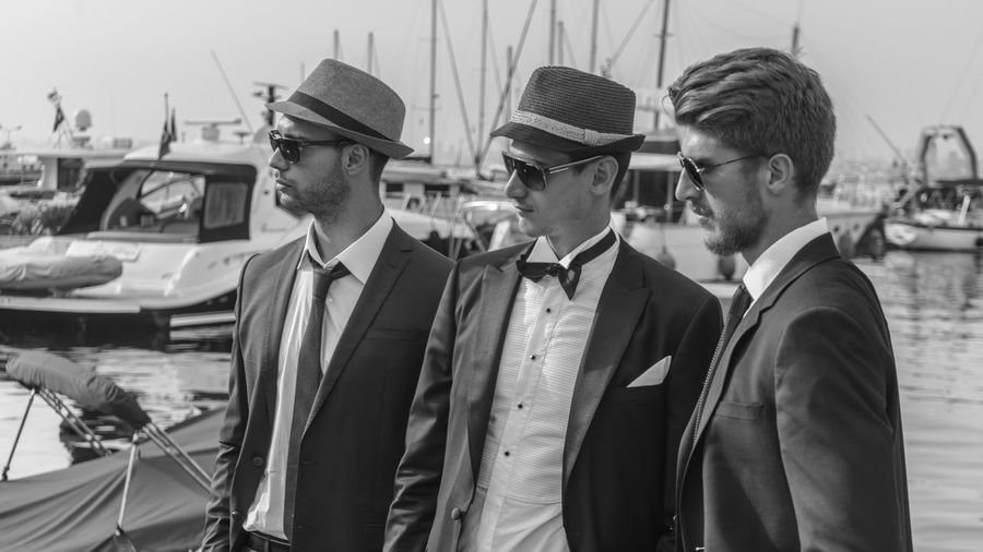 Black And White Photography Blackandwhite Day Glamour Groom Hat Memories Lifestyles Mafia  Men Mensfashion Menstyle Outdoors Eyeemphoto Young Adult Fashion Showcase June Enjoy The New Normal Suit Turkishfollowers Yatch Yatch Marine Natural Light Portrait Focus On Foreground My Year My View Uniqueness Business Stories Love Yourself This Is Masculinity