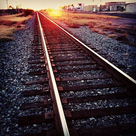 Railroad Track Transportation Rail Transportation No People Outdoors Nature Day West Texas Sunset Midland, TX Union Pacific Railroad Midland TX was born of the railroad in 1880. Texas and Pacific Railroad pushed a rail car onto a siding midway between Dallas and El Paso, and Midland was born. Vanishing Point Adapted To The City The Way Forward The City Light