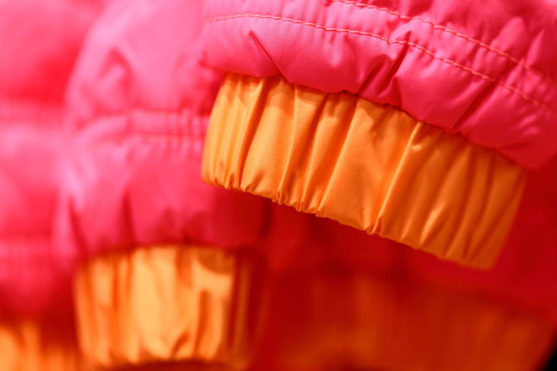 Ski jacket cuffs. Backgrounds Bright Colors Close-up Clothing Cuffs Enjoying Life Eye4photography  EyeEm Best Shots EyeEm Gallery Fabric Freshness Hello World Macro Minimalism No People Orange Color Orderly Pink Red Row Of Things Shop Shopping Ski Jackets Textures And Surfaces Warm Clothing