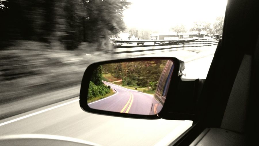 Transportation Land Vehicle Mode Of Transport Side-view Mirror Road Reflection On The Move Motion Blurred Motion Selected Color SelectedColor Color Splash Moving Vehicle Motion Blur North Carolina Road North Carolina Roxboro NC Motion Blurred Motion Blur Be. Ready.