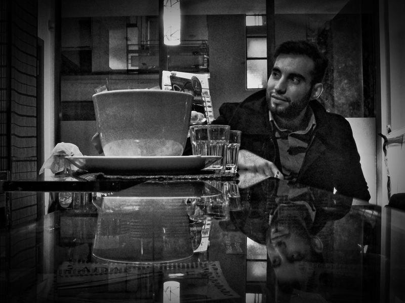 People And Places Man in coffee. Indoors  Casual Clothing Looking Portrait People Black And White Italian Real People Indoors  Composition Atmosphere Noir Lounge Bar Side View Indoors  Architecture Casual Clothing Mature Adult Looking