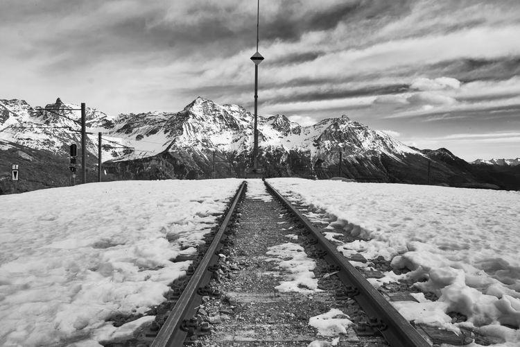Snow Winter Cold Temperature Snowcapped Mountain Sky Nature Cloud - Sky Scenics Outdoors Railroad Track Bernina Express Bernina Blach&white Blackandwhite Black And White