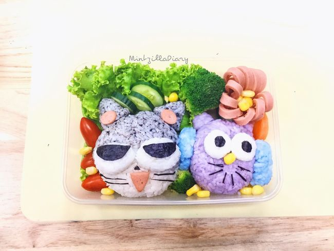 Creative Bento Box Creativity Art Multi Colored Freshness Various Arrangement Ready-to-eat Variation Table Bento Box Creativefood Creative Rice Ball Clean Food Owl Cat