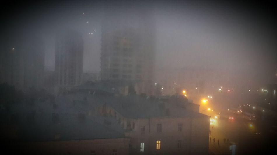 Baku Baku City Azerbaijan Foggy Morning Train Station