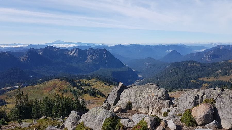 Marmot enjoys the spectacular view in mount rainier np - scenic view of mountains against sky