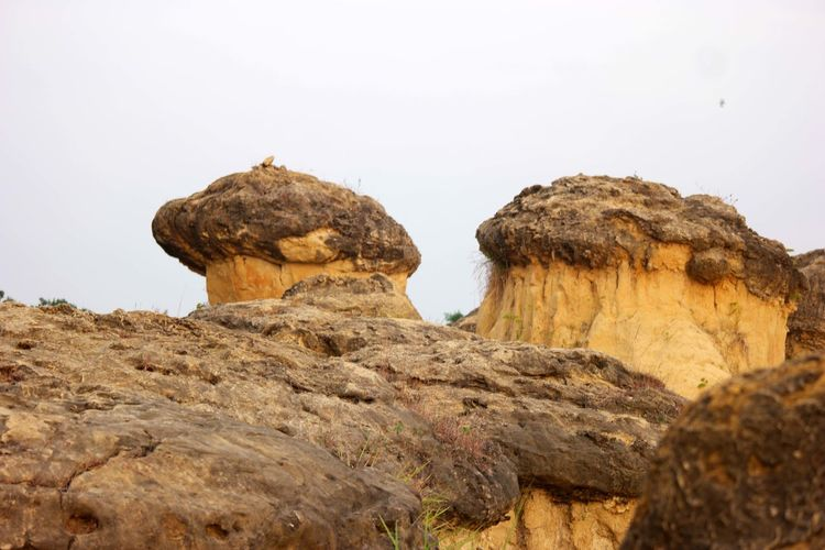 Low angle view of mushroom-shaped rock formation against clear sky