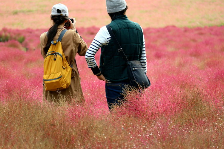 Rear view of couple standing amidst plants on field