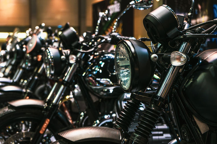 Motorcycles in for sale in shop