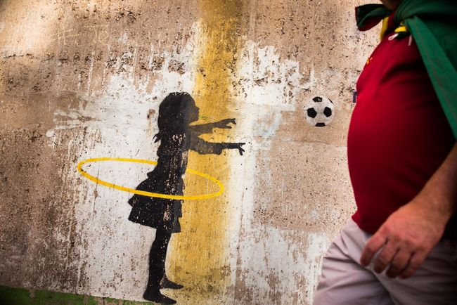 Colors Football Fever Kick Off National Team Portugal The Week On EyeEm Wall Painting Ball Football Fans Human Body Part Kick It Leisure Activity Lifestyles No Faces Outdoors Pre Game Shirt Soccer⚽ Tricot