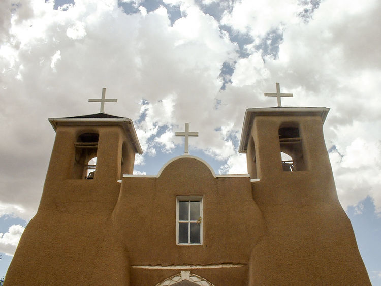 New Mexico Architecture Bell Tower Building Exterior Built Structure Cloud - Sky Clouds And Cross's Day Low Angle View Mission Church No People Outdoors Sky Window
