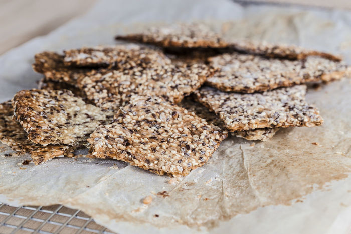 Homemade seeded crispbreads Flatbread  Homemade Baked Close-up Crackers Crispbread  Food Food And Drink Freshness High Angle View Indoors  No People Ready-to-eat Seeded Snack Still Life Wafer Wellbeing