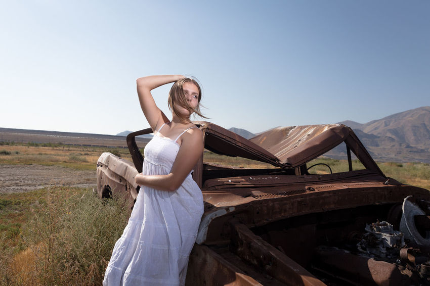 ..there's no coming back from that place that you came.. Young Adult Teenager White Dress Old Truck Rusty Clear Sky Standing Rural Scene Summer Sky