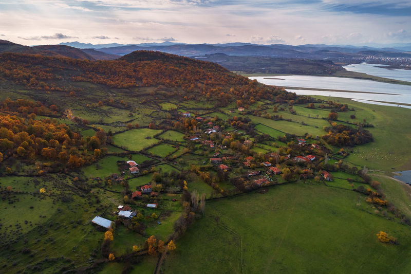Village Nature Drone  Landscape Aerial View Outdoors View Scenery Point Of View Beauty In Nature Environment Scenics - Nature Cloud - Sky Field Land Mountain High Angle View Day No People Architecture Tranquility Tranquil Scene Water Green Color Grass Village