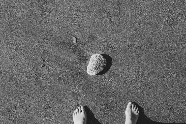 barefoot Beach Body Part Day Directly Above High Angle View Human Body Part Human Foot Human Leg Human Limb Land Lifestyles Low Section Nature One Person Outdoors Personal Perspective Real People Sand Shoe Standing