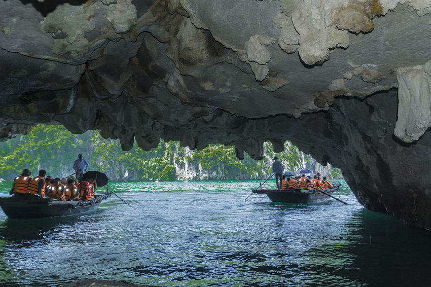 Vietnam Halong Bay Adventure Beauty In Nature Cave Day Large Group Of People Leisure Activity Lifestyles Mammal Men Mountain Nature Nautical Vessel Outdoors People Real People Rock - Object Rock Formation Water Waterfront Women