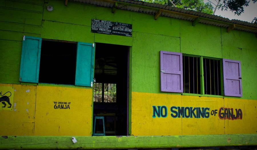 Jamaica Ganja No Drugs Beach Life Colors Colours Vibrant Port Antonio Weed Island Life Travel Photography Store Shop Colorful Port Antonio Sign Signage