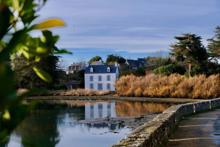 Bretagne France Oceanside Architecture Bretagnetourisme Building Exterior Built Structure Day Nature No People Outdoors Reflection Sky Tree Water EyeEmNewHere EyeEmNewHere Shades Of Winter