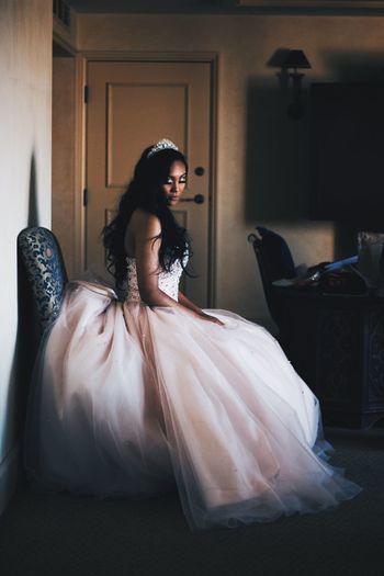 Portrait of bride wearing wedding dress