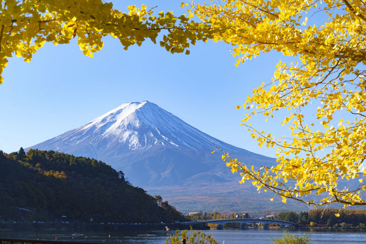 Beautiful landscape view of mountain fuji famous landmark of japan.