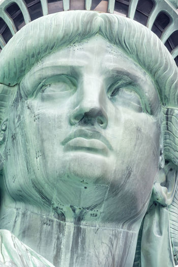 Bartholdi USA America American Beauty Blue City Copper  Crown Democracy Eiffel Empty Famous Freedom Government Green Historical Icon Isolated July Justice Landmark Liberty Manhattan National NY NYC Patriot Scenic Sky Statue Symbol Tall Torch Town Travel Trip United Us View White York