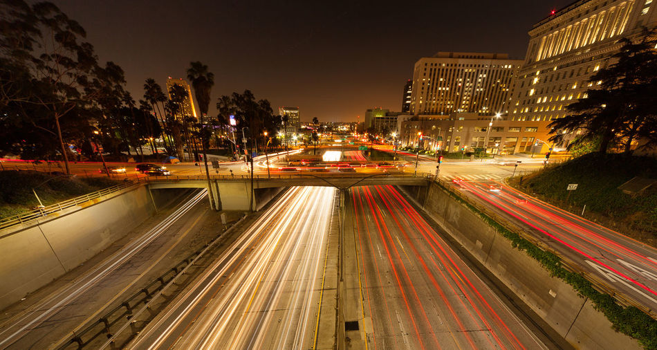 Architecture City Downtown Illuminated Light Trail Long Exposure Los Angeles, California Motion Night No People Outdoors Speed Urban Scene