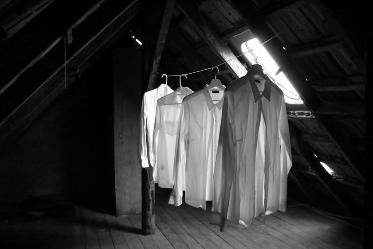 Four Ghost Ghosts Shirts Clothes Clothesline Clothing Coathanger Day Drying Drying Clothes Empty Hanging Indoors  No People Quad Washing Line White