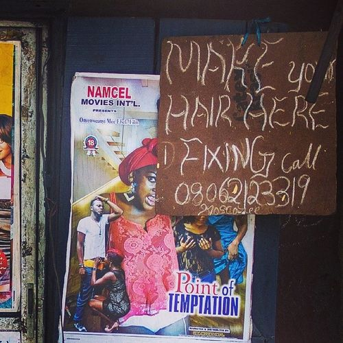 Make your hair here! Lagos Nigeria Naija Nollywood filmposters africanfilm saloon streetphotography snapitoga africa africanart movies movieposter