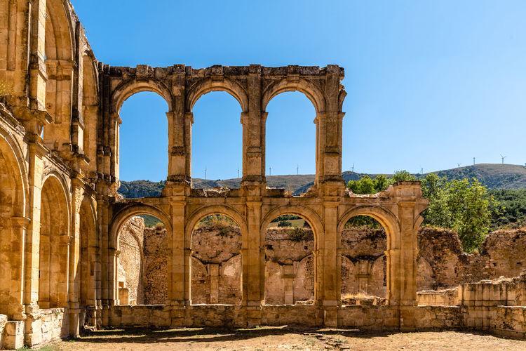View of the ruins of an ancient abandoned monastery in santa maria de rioseco, burgos,