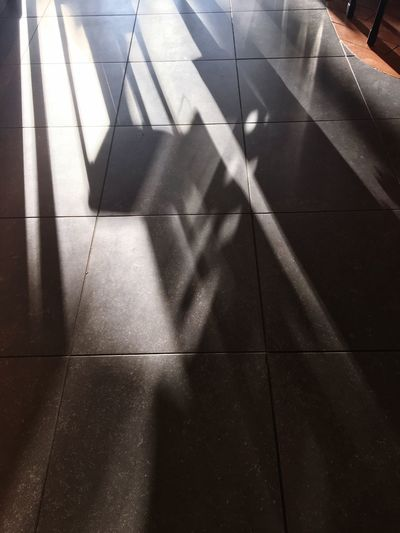 Shadow Sunlight Tiled Floor High Angle View Indoors  No People Day