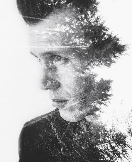 Digital Composite Image Of Man And Trees