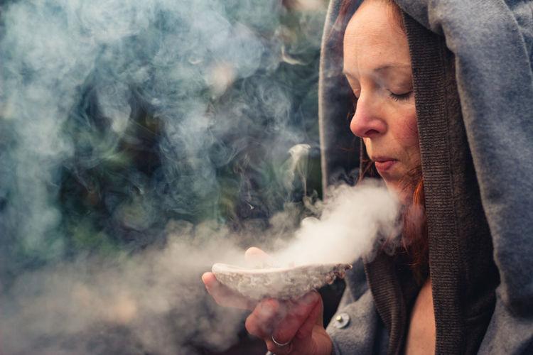 Hands and smoke