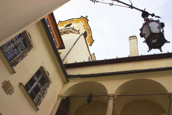 Fishing Lantern Church Tower Classic Lantern Pozsony Architecture Bratislava Building Exterior Built Structure Central Europe Central European Church Courtyard Courtyard  Day Decoration Low Angle View No People Ornamentation Outdoors Sculpture Statue