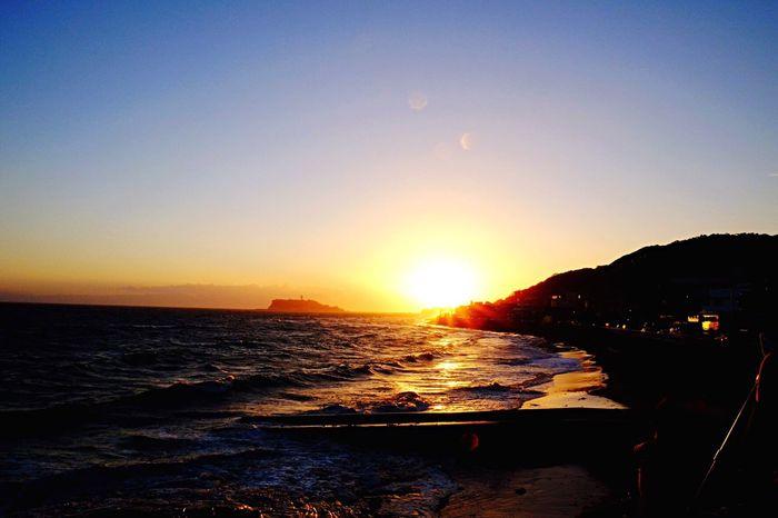 Inamuragasaki Sunset Summer Sunshine Beach Evening Sea And Sky Coast Bright Orange Light And Shadow